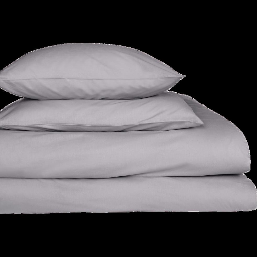 drap housse en percale de coton gris restanque 140x200cm bonnet 25cm flore 140x200 cm. Black Bedroom Furniture Sets. Home Design Ideas