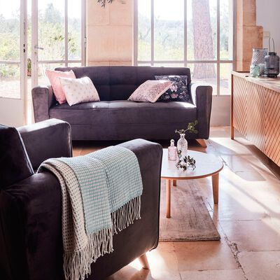 Canapé 3 places fixe en velours - gris foncé-VICKY