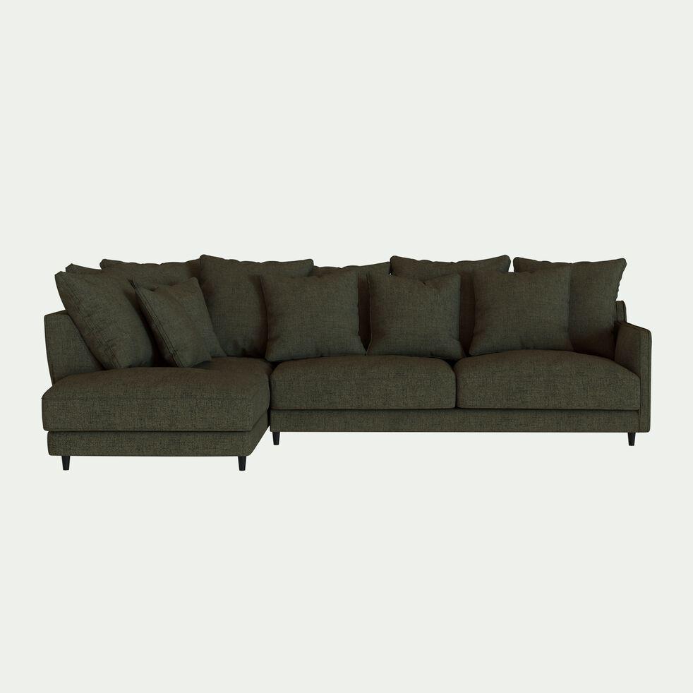 Canapé d'angle gauche fixe en tissu joint - vert cèdre-LENITA