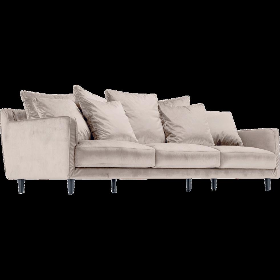 canap 5 places fixe en velours rose gr ge lenita la s lection velours alinea. Black Bedroom Furniture Sets. Home Design Ideas