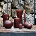 8 bougies flambeaux brun châtaignier H18cm-HALBA