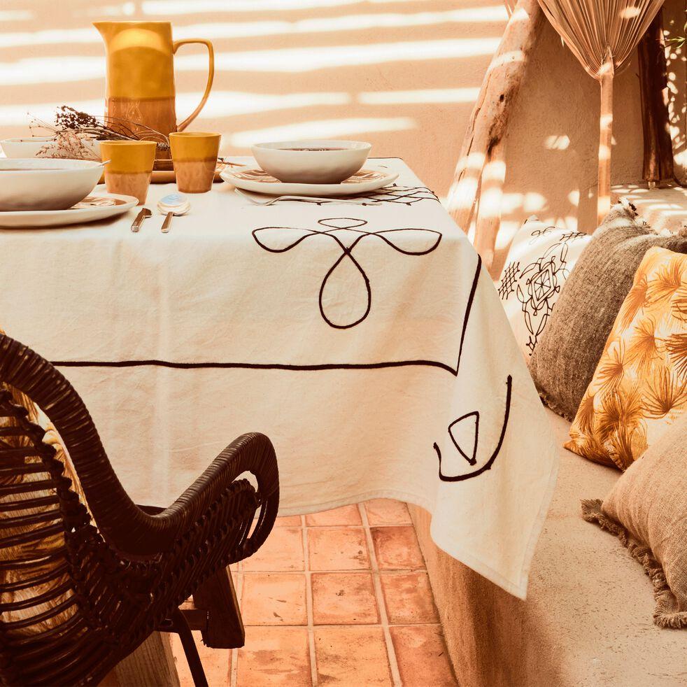 Nappe en coton brodée - écru 140x250cm-MONIA