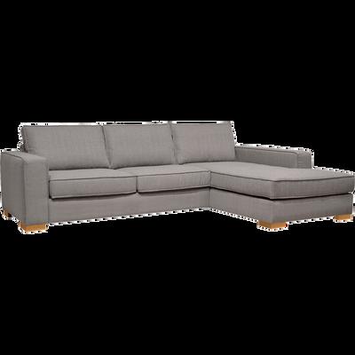 Canapé d'angle fixe droit en tissu gris clair-CALIFORNIA