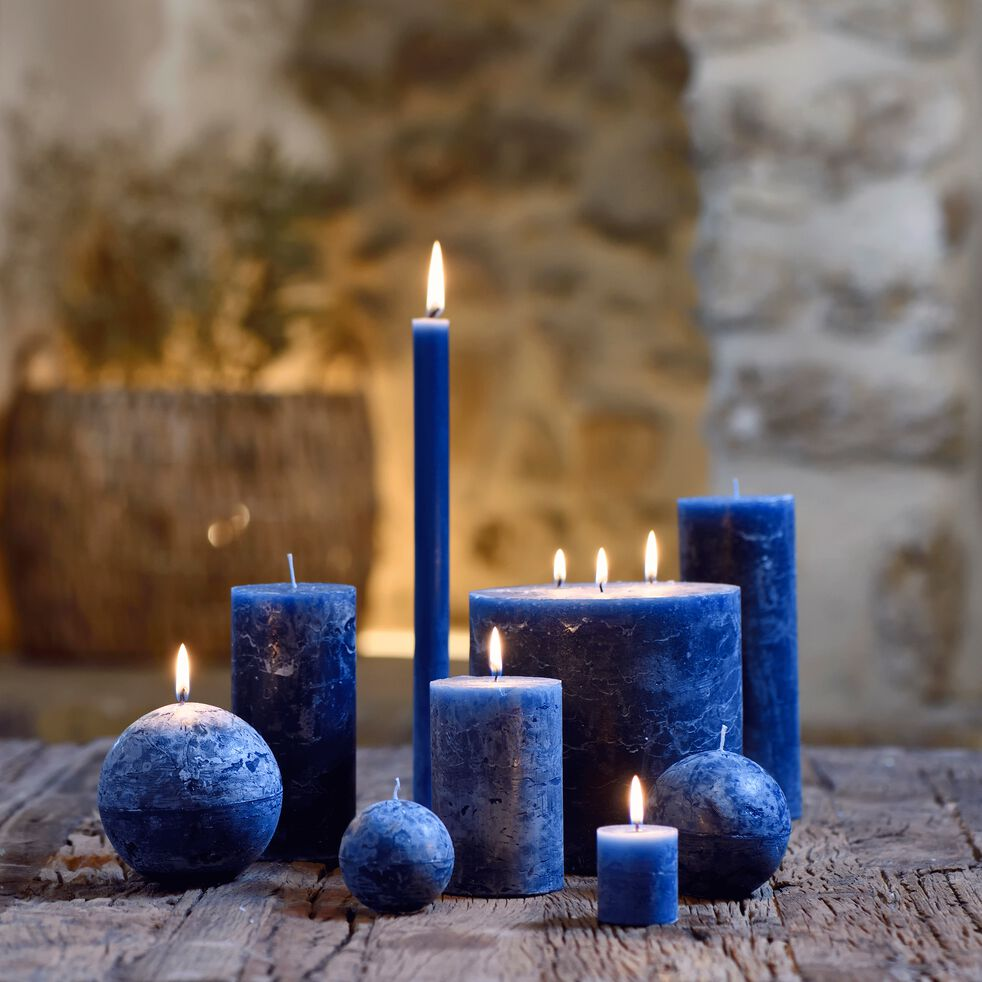 Bougie ronde bleu myrte D10cm-BEJAIA