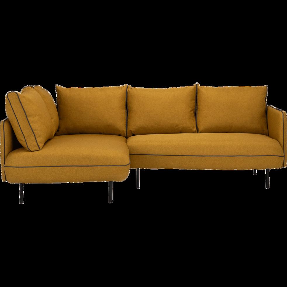 canapé d'angle gauche jaune nèfle - saou - canapés d'angle en tissu