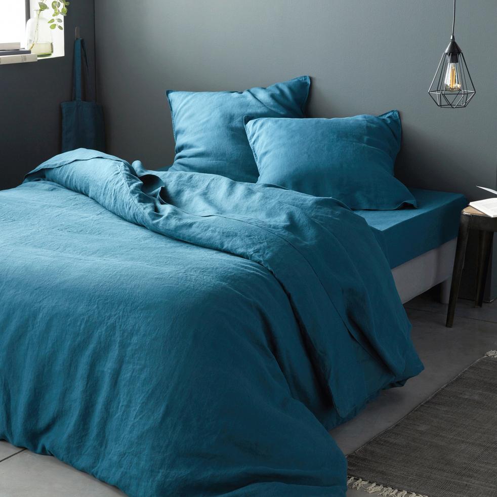 linge de lit en lin bleu figuerolles vence linge de. Black Bedroom Furniture Sets. Home Design Ideas