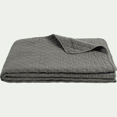 Couvre-lit en polyester effet lavé - vert cèdre 230x250cm-THYM
