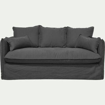Canapé 3 places convertible en coton et lin - gris ardoise-KALISTO