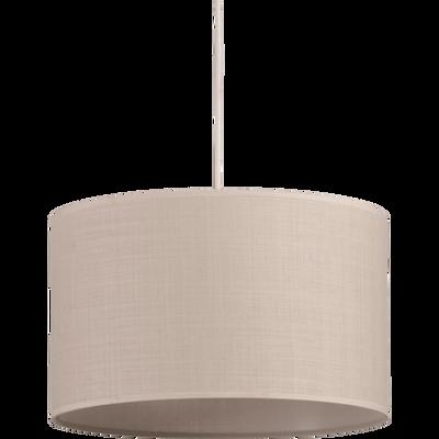 Suspension cylindrique en tissu beige roucas D60cm-MISTRAL