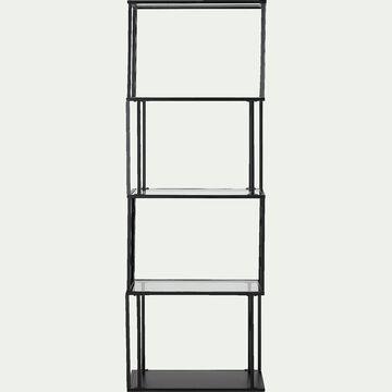 Bibliothèque en verre et métal - noir L60xP30xH170cm-HENU