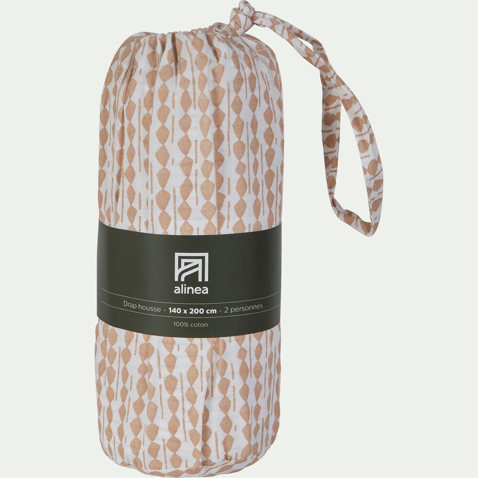 Drap housse en coton peigné - beige 140x200cm B25cm-PISTOU