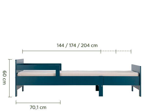 Lit 1 place évolutif en pin 3 positions pour enfant - bleu figuerolles-POLLUX