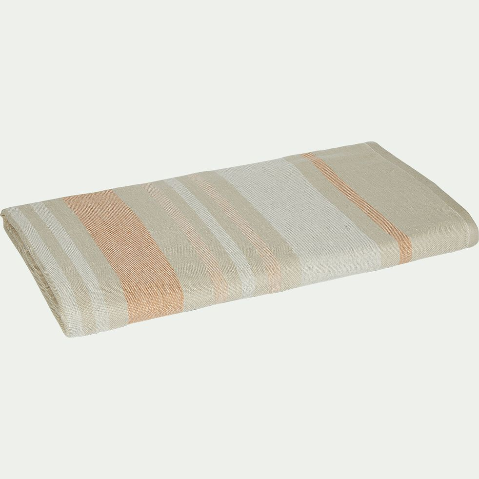 Drap de plage fouta en coton rayé beige 100x180cm-ORONTE