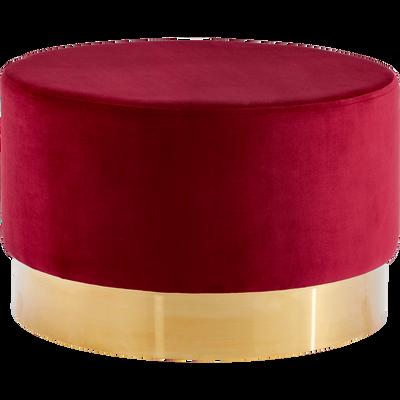 Pouf en velours grand modèle rouge sumac D55cm-AUVE