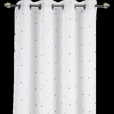 Voilage blanc motifs étoiles bleues 140x240cm pour enfant-VENUS