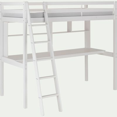 Lit mezzanine avec bureau - blanc-DANIS