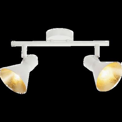 Plafonnier 2 spots orientables en métal blanc et doré L43cm-AZTEKAS