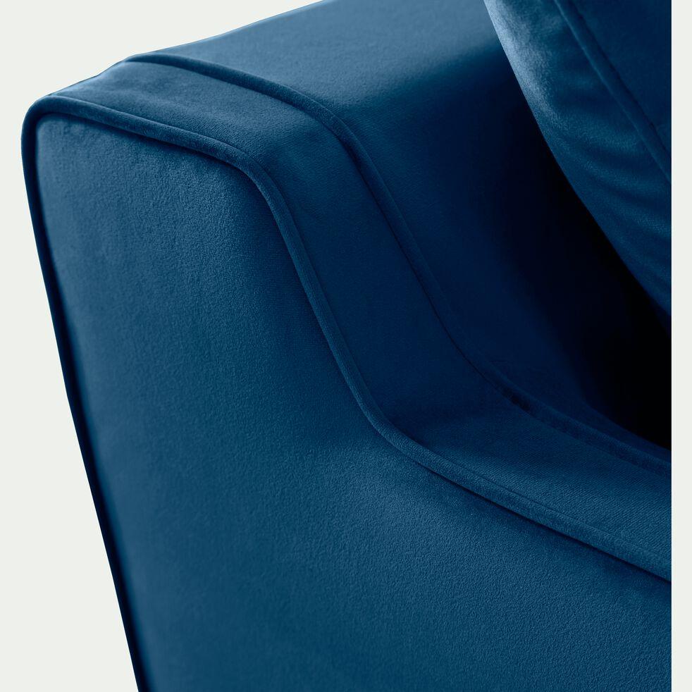 Canapé 3 places convertible en velours - bleu figuerolles-LENITA