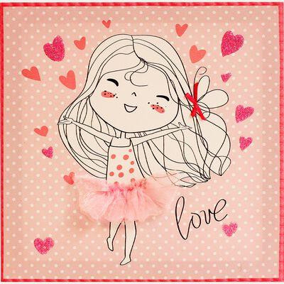 Toile décorative rose à motifs - 30x30cm-LILI