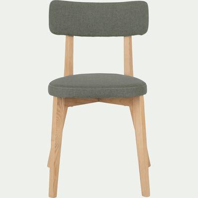 Chaise en tissu vert cèdre avec structure bois clair-AMEDEE