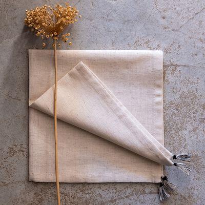 Serviette en coton et en lin - blanc 41x41cm-SAIDA
