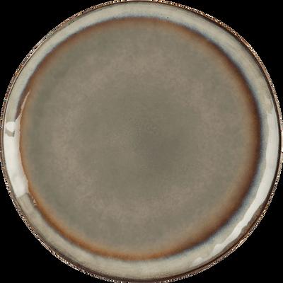 Assiette plate en grès marron D28cm-LUEUR