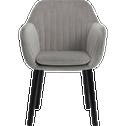 Chaise capitonnée en velours gris restanque avec accoudoirs-SHELL