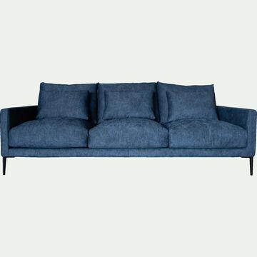 Canapé 4 places fixe en tissu bleu figuerolles-SOZY