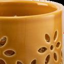 Photophore en céramique - jaune D8,5xH8,7cm-LIV