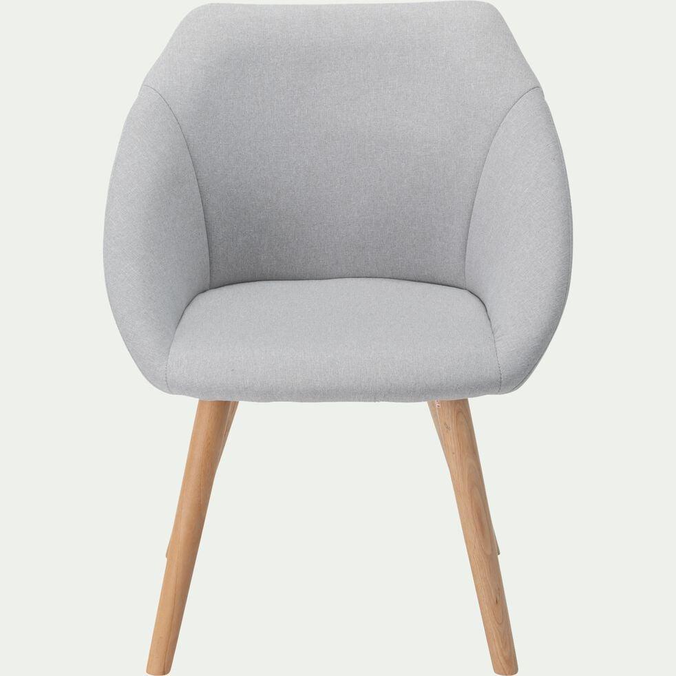 Chaise en tissu avec accoudoirs et piétement naturel - gris borie-DELINA
