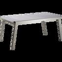 Table de jardin extensible kaki en verre trempé et aluminium (6 à 10 places)-LYO