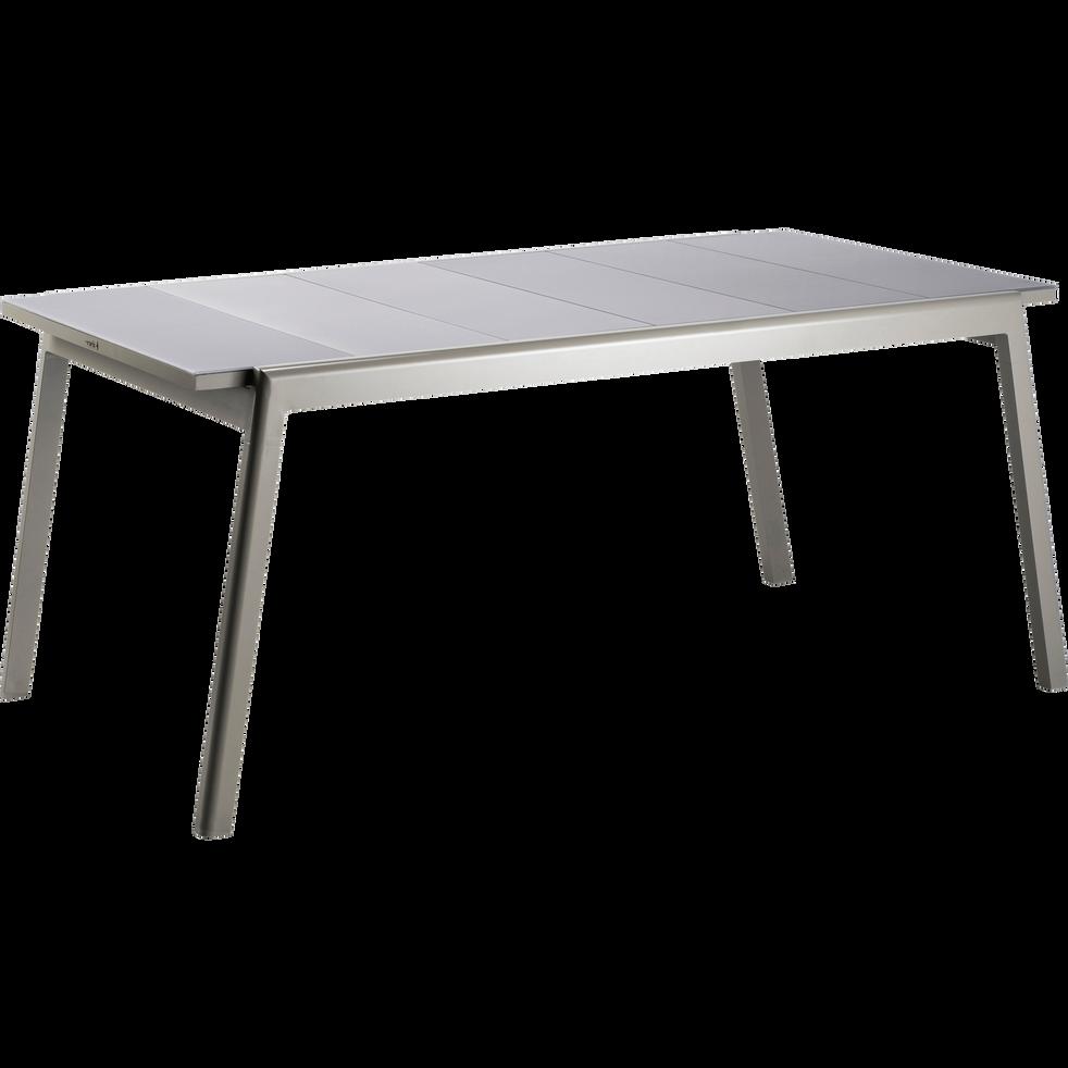 table de jardin extensible kaki en verre tremp et aluminium 6 10 places lyo tables de. Black Bedroom Furniture Sets. Home Design Ideas
