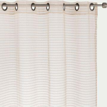 Voilage à œillets en polyester brodé - beige 140x260cm-KISKA