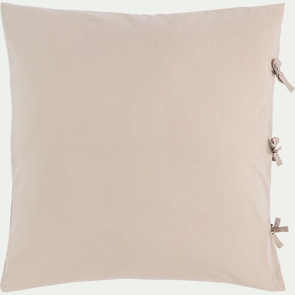 Housse de couette et 2 taies d'oreiller en coton lavé - beige alpilles 240x220cm-MANTA