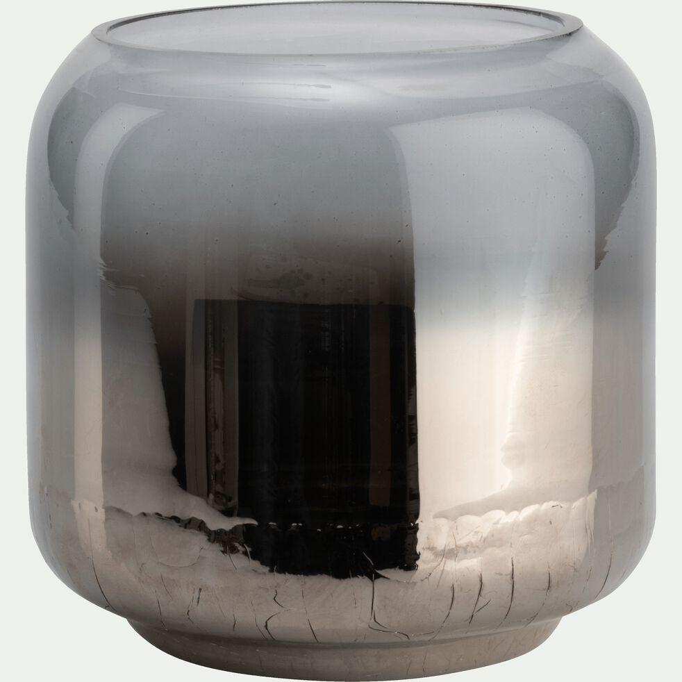Photophore en verre - argenté D15xH15-ZETA