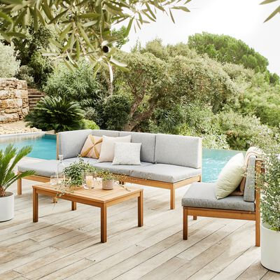 Pouf de jardin en acacia et coussin gris-ISSANBRES