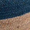 Pouf bicolore en jute - naturel et bleu myrte D50xH20cm-NAIA