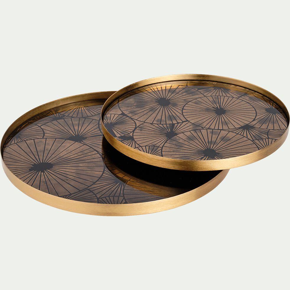 Plateau en métal doré D21cm-Pasig