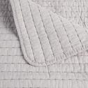Jeté de lit en coton gris borie et gris restanque 180x230cm-CASTEL