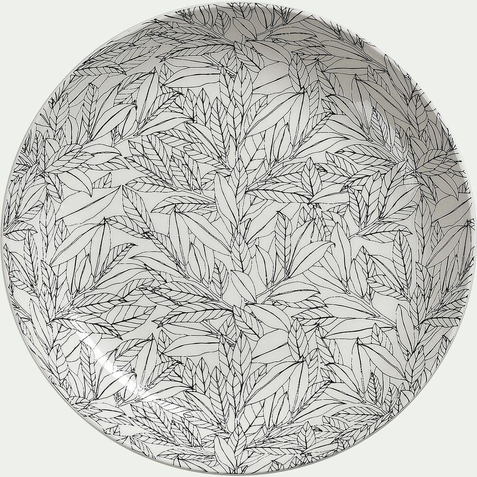 Assiette plate en porcelaine à motifs laurier - beige - D26cm-AIX