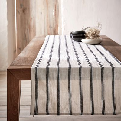 Chemin de table en lin et coton noir et blanc 50x200cm-PASSO