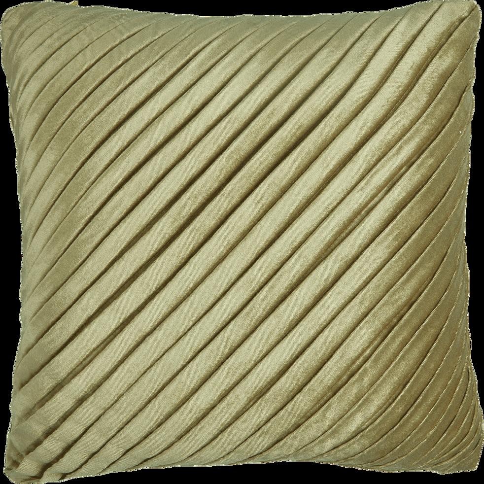 Coussin plissé en velours vert clair 40x40cm-ALICE