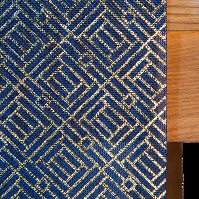 Chemin de table en papier bleu décoré 28x6cm-MOZAIQUE