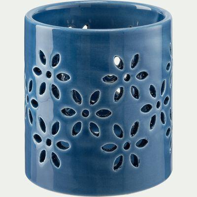 Photophore ajouré en céramique - bleu D8,5xH8,7cm-LIV