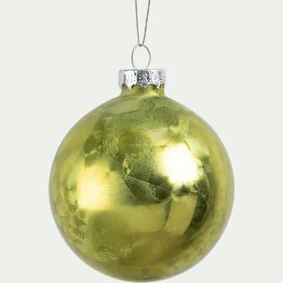 Boule de Noël givrée verte D8cm-ANFOSSI
