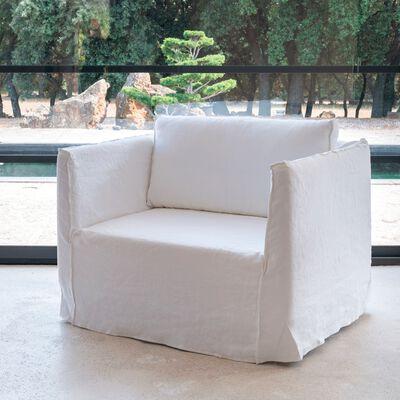 Canapé 1.5 places fixe en lin blanc capelan-VENCE