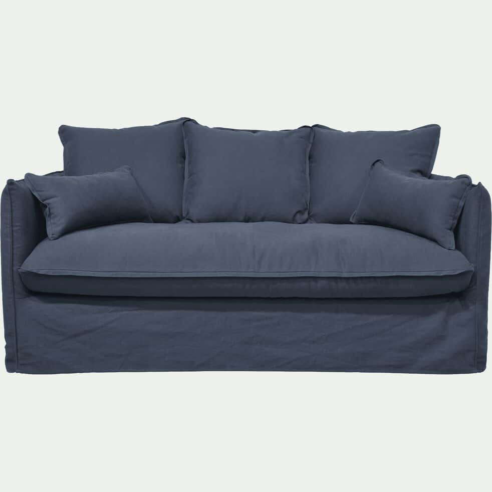 Canapé 3 places fixe en coton et lin - bleu calabrun-KALISTO