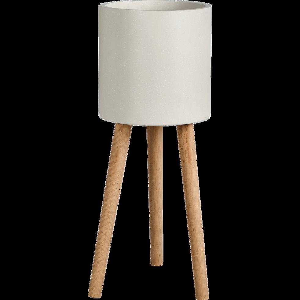 cache pot en pierre et bois h78xd30cm tamaris cache. Black Bedroom Furniture Sets. Home Design Ideas
