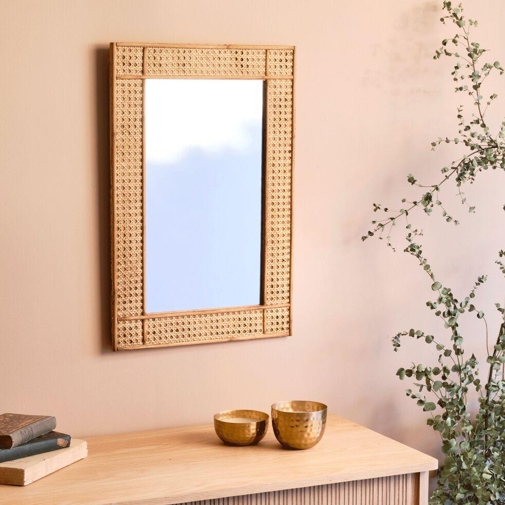 Miroir rectangulaire en cèdre naturel H60x40cm-Hai