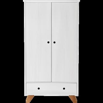 Armoire  2 portes battantes et 1 tiroir en pin massif-TIPI